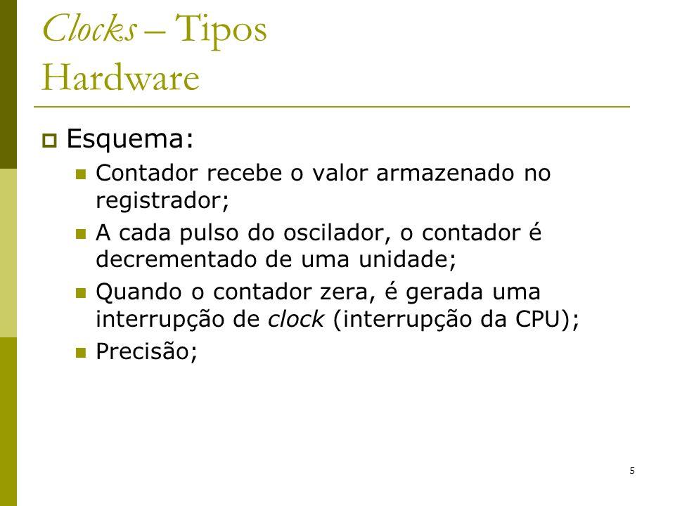 5 Clocks – Tipos Hardware Esquema: Contador recebe o valor armazenado no registrador; A cada pulso do oscilador, o contador é decrementado de uma unid