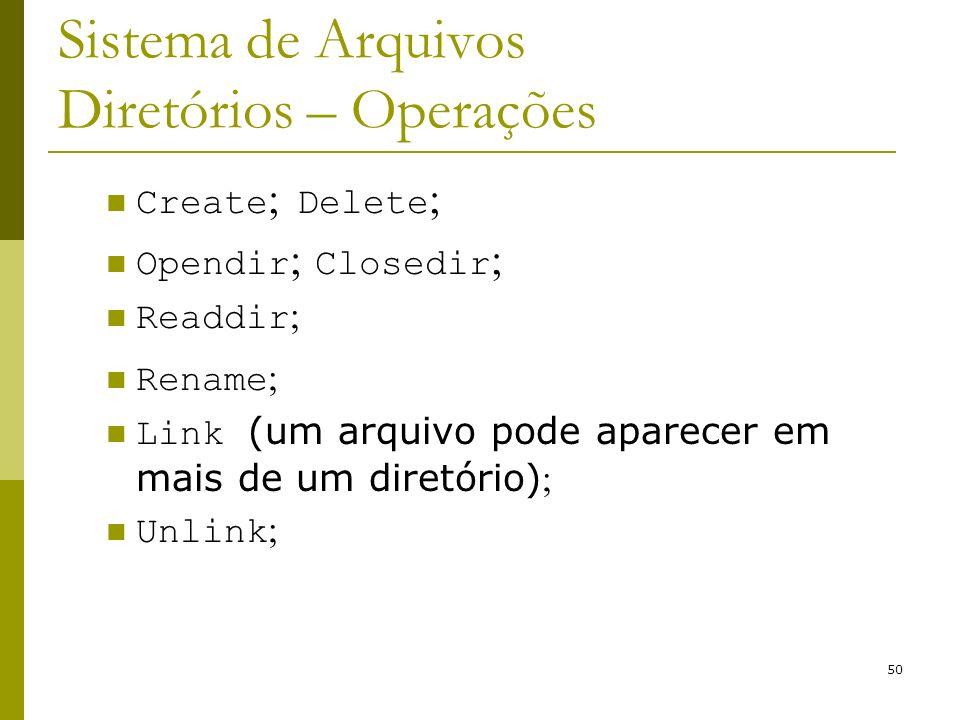 50 Sistema de Arquivos Diretórios – Operações Create ; Delete ; Opendir ; Closedir ; Readdir ; Rename ; Link (um arquivo pode aparecer em mais de um d