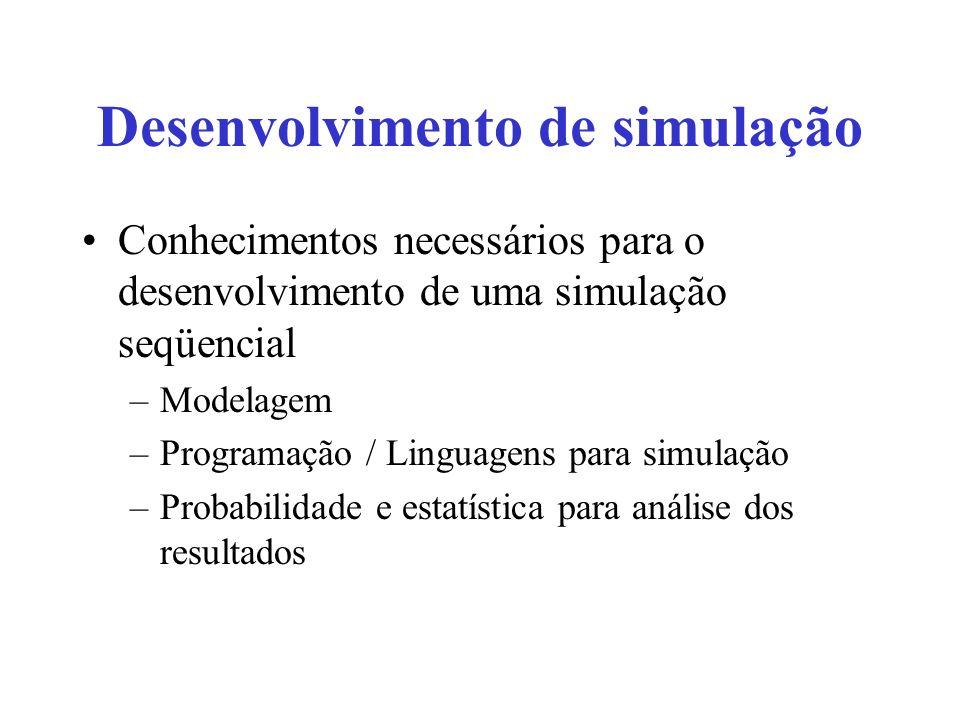 Desenvolvimento de simulação Conhecimentos necessários para o desenvolvimento de uma simulação seqüencial –Modelagem –Programação / Linguagens para si