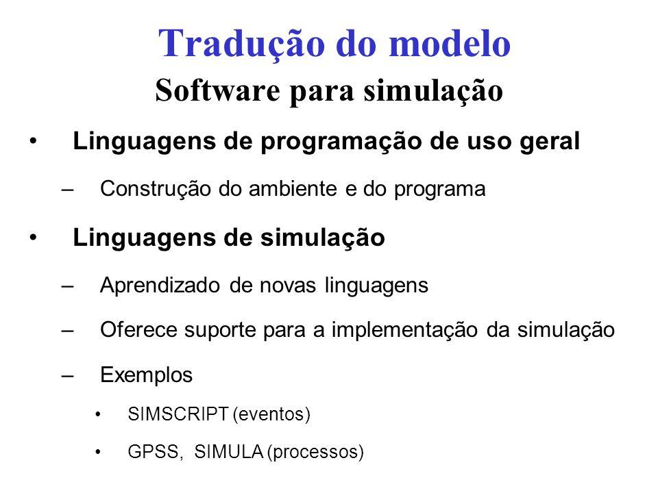 Software para simulação Linguagens de programação de uso geral –Construção do ambiente e do programa Linguagens de simulação –Aprendizado de novas lin