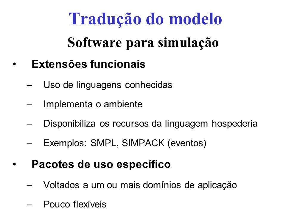 Software para simulação Extensões funcionais –Uso de linguagens conhecidas –Implementa o ambiente –Disponibiliza os recursos da linguagem hospederia –