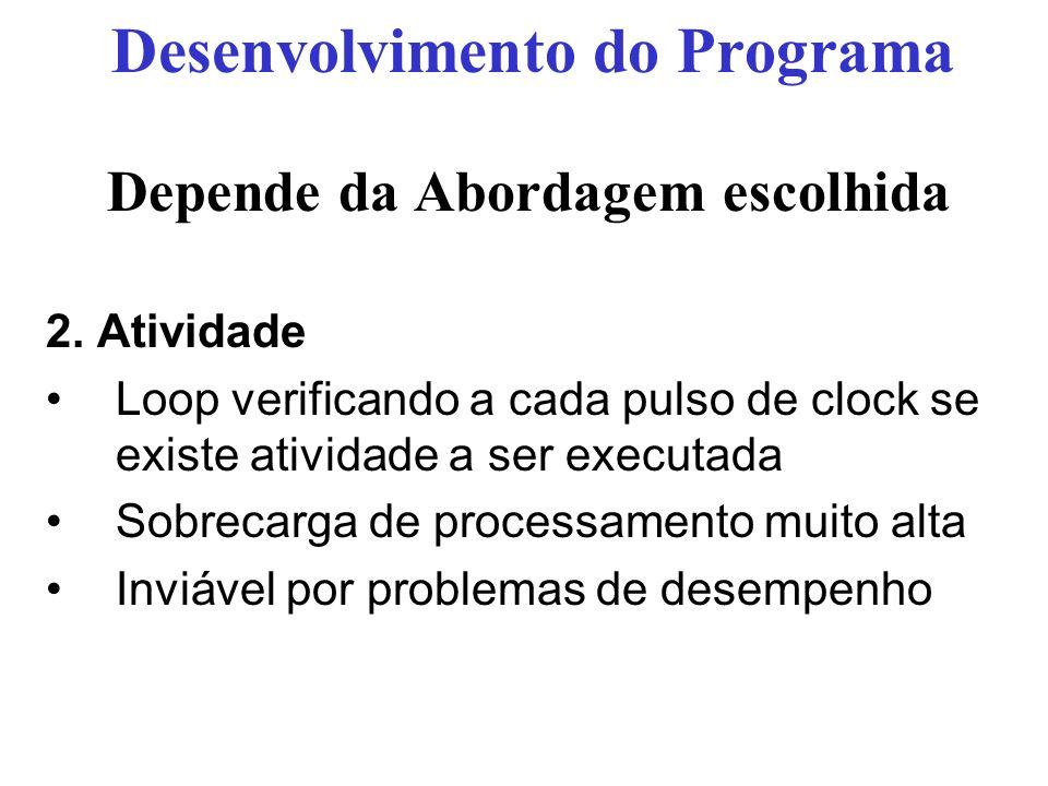 Depende da Abordagem escolhida 2. Atividade Loop verificando a cada pulso de clock se existe atividade a ser executada Sobrecarga de processamento mui