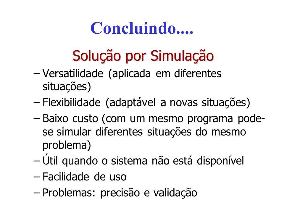 Concluindo.... Solução por Simulação –Versatilidade (aplicada em diferentes situações) –Flexibilidade (adaptável a novas situações) –Baixo custo (com