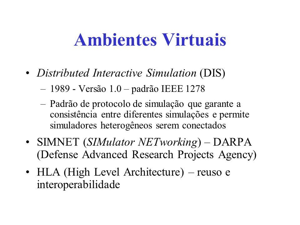 Ambientes Virtuais Distributed Interactive Simulation (DIS) –1989 - Versão 1.0 – padrão IEEE 1278 –Padrão de protocolo de simulação que garante a cons
