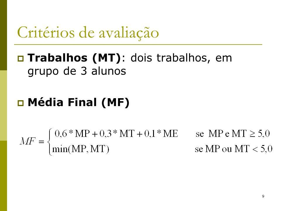 9 Critérios de avaliação Trabalhos (MT): dois trabalhos, em grupo de 3 alunos Média Final (MF)