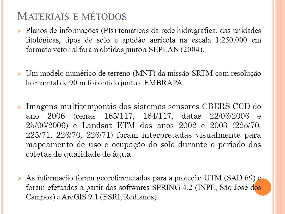 M ATERIAIS E MÉTODOS Planos de informações (PIs) temáticos da rede hidrográfica, das unidades litológicas, tipos de solo e aptidão agrícola na escala