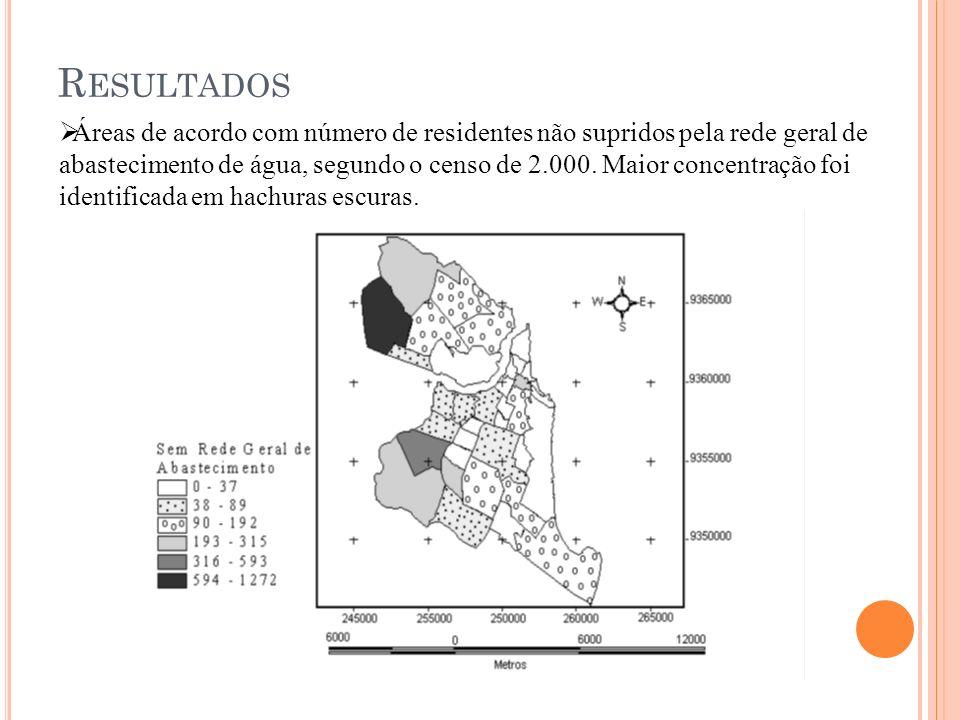 R ESULTADOS Áreas de acordo com número de residentes não supridos pela rede geral de abastecimento de água, segundo o censo de 2.000. Maior concentraç