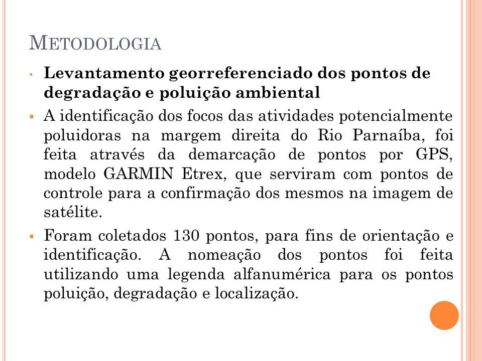 M ETODOLOGIA Levantamento georreferenciado dos pontos de degradação e poluição ambiental A identificação dos focos das atividades potencialmente polui