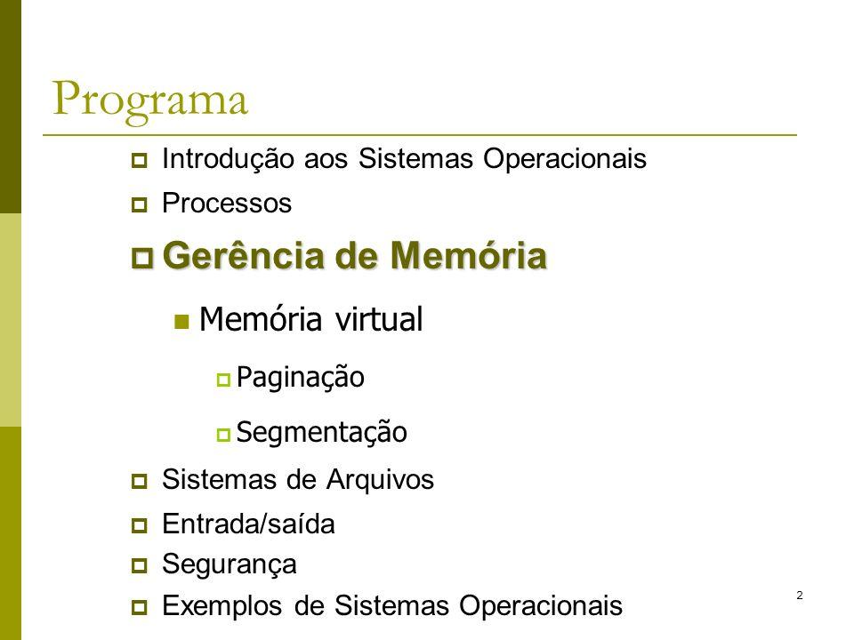 3 Gerenciamento de Memória Troca de Páginas - Paginação Algoritmos vistos: Ótimo; NRU; FIFO; Segunda Chance; Relógio; Hoje: LRU; Working set; WSClock;