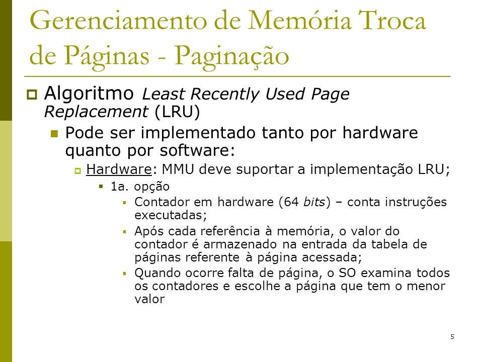 6 Gerenciamento de Memória Troca de Páginas - Paginação LRU – Hardware - 2a.
