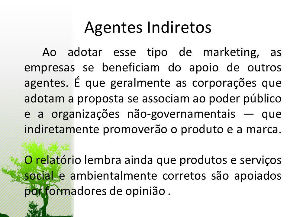 Agentes Indiretos Ao adotar esse tipo de marketing, as empresas se beneficiam do apoio de outros agentes. É que geralmente as corporações que adotam a