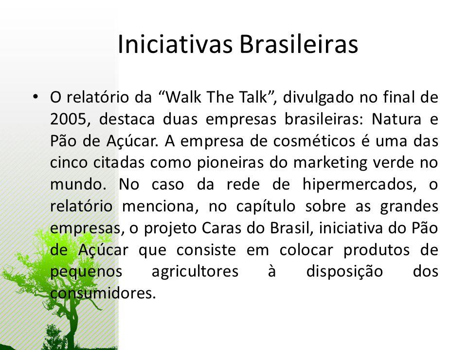 Iniciativas Brasileiras O relatório da Walk The Talk, divulgado no final de 2005, destaca duas empresas brasileiras: Natura e Pão de Açúcar. A empresa