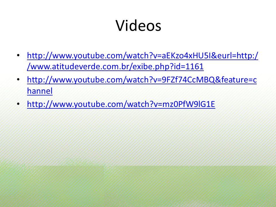 Videos http://www.youtube.com/watch?v=aEKzo4xHU5I&eurl=http:/ /www.atitudeverde.com.br/exibe.php?id=1161 http://www.youtube.com/watch?v=aEKzo4xHU5I&eu