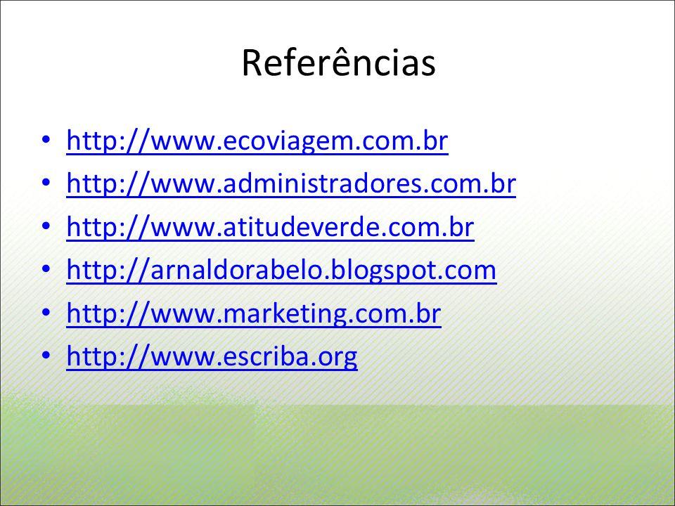 Referências http://www.ecoviagem.com.br http://www.administradores.com.br http://www.atitudeverde.com.br http://arnaldorabelo.blogspot.com http://www.