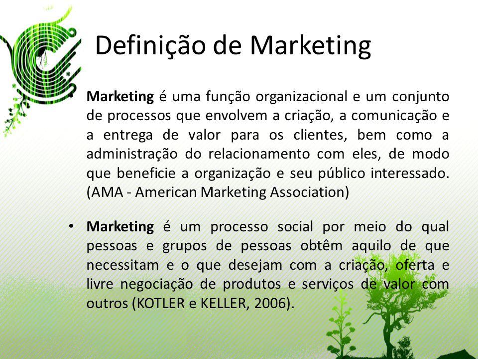 Definição de Marketing Marketing é uma função organizacional e um conjunto de processos que envolvem a criação, a comunicação e a entrega de valor par