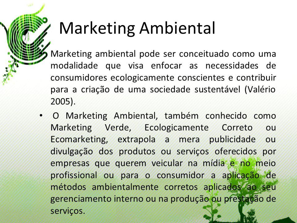 Marketing Ambiental Marketing ambiental pode ser conceituado como uma modalidade que visa enfocar as necessidades de consumidores ecologicamente consc