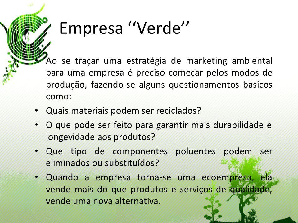 Empresa Verde Ao se traçar uma estratégia de marketing ambiental para uma empresa é preciso começar pelos modos de produção, fazendo-se alguns questio