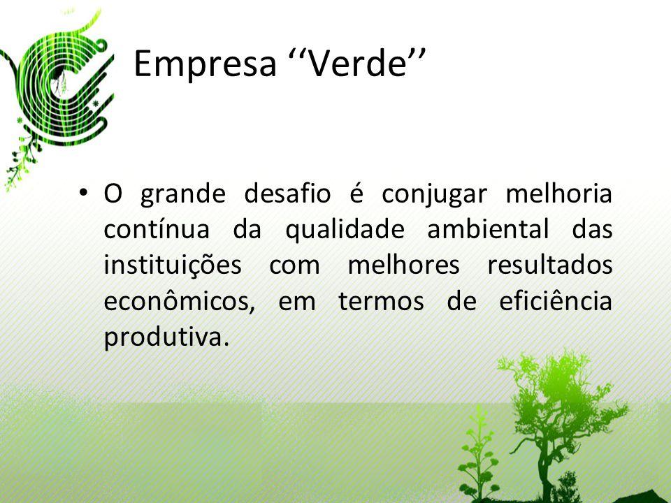 Empresa Verde O grande desafio é conjugar melhoria contínua da qualidade ambiental das instituições com melhores resultados econômicos, em termos de e