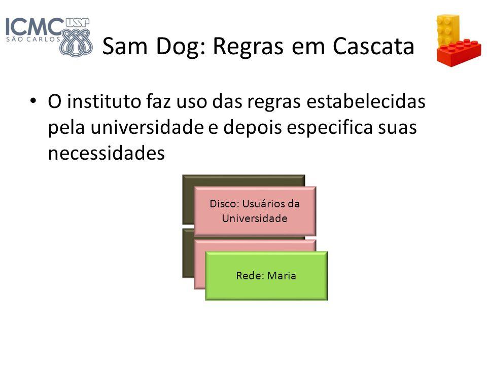 Sam Dog: Regras em Cascata O instituto faz uso das regras estabelecidas pela universidade e depois especifica suas necessidades Disco: Todos Rede: Tod