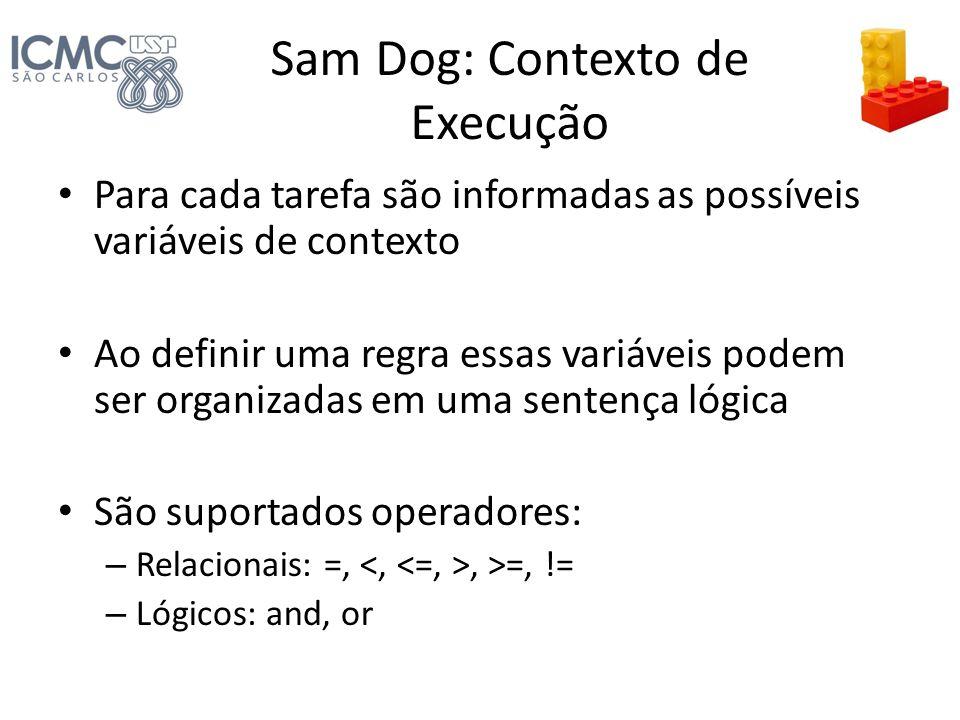 Sam Dog: Contexto de Execução Para cada tarefa são informadas as possíveis variáveis de contexto Ao definir uma regra essas variáveis podem ser organi