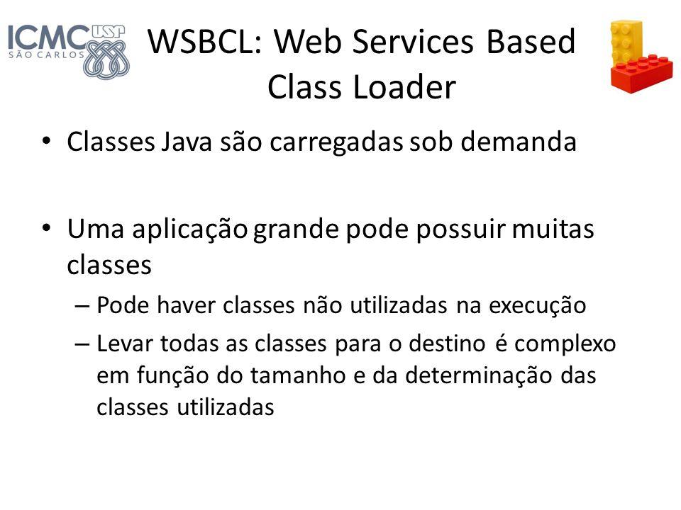 WSBCL: Web Services Based Class Loader Classes Java são carregadas sob demanda Uma aplicação grande pode possuir muitas classes – Pode haver classes n