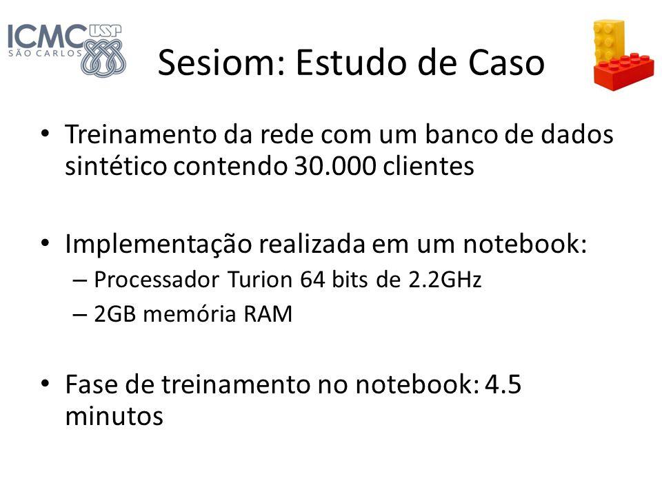 Sesiom: Estudo de Caso Treinamento da rede com um banco de dados sintético contendo 30.000 clientes Implementação realizada em um notebook: – Processa