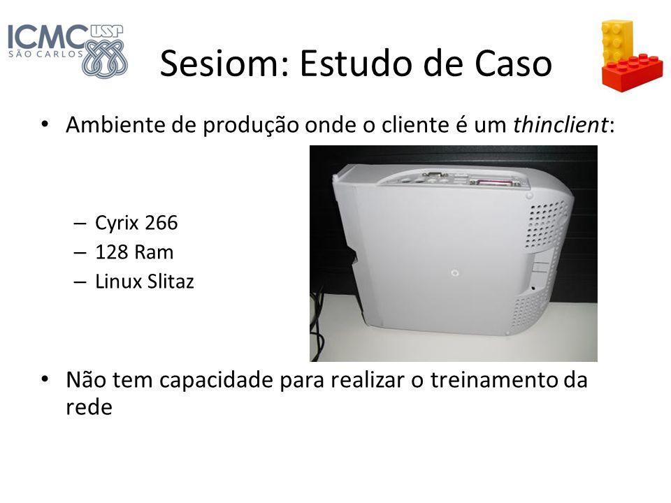 Sesiom: Estudo de Caso Ambiente de produção onde o cliente é um thinclient: – Cyrix 266 – 128 Ram – Linux Slitaz Não tem capacidade para realizar o tr