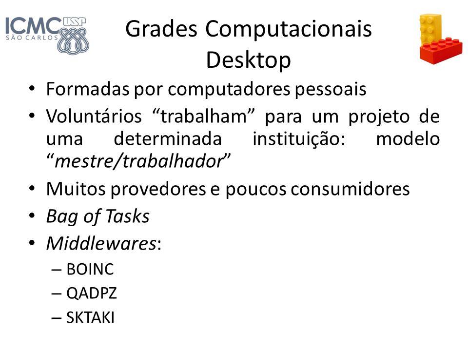 Grades Computacionais Desktop Formadas por computadores pessoais Voluntários trabalham para um projeto de uma determinada instituição: modelomestre/tr