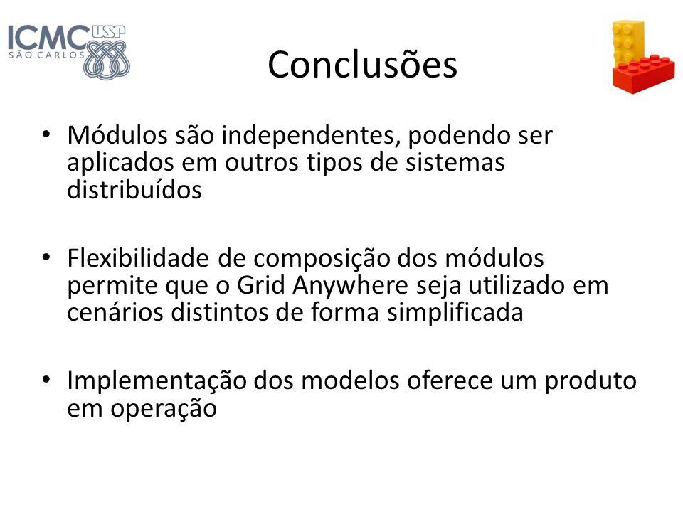 Conclusões Módulos são independentes, podendo ser aplicados em outros tipos de sistemas distribuídos Flexibilidade de composição dos módulos permite q