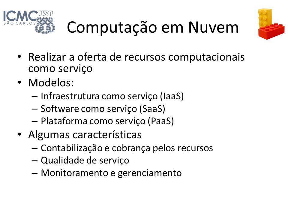 Computação em Nuvem Realizar a oferta de recursos computacionais como serviço Modelos: – Infraestrutura como serviço (IaaS) – Software como serviço (S