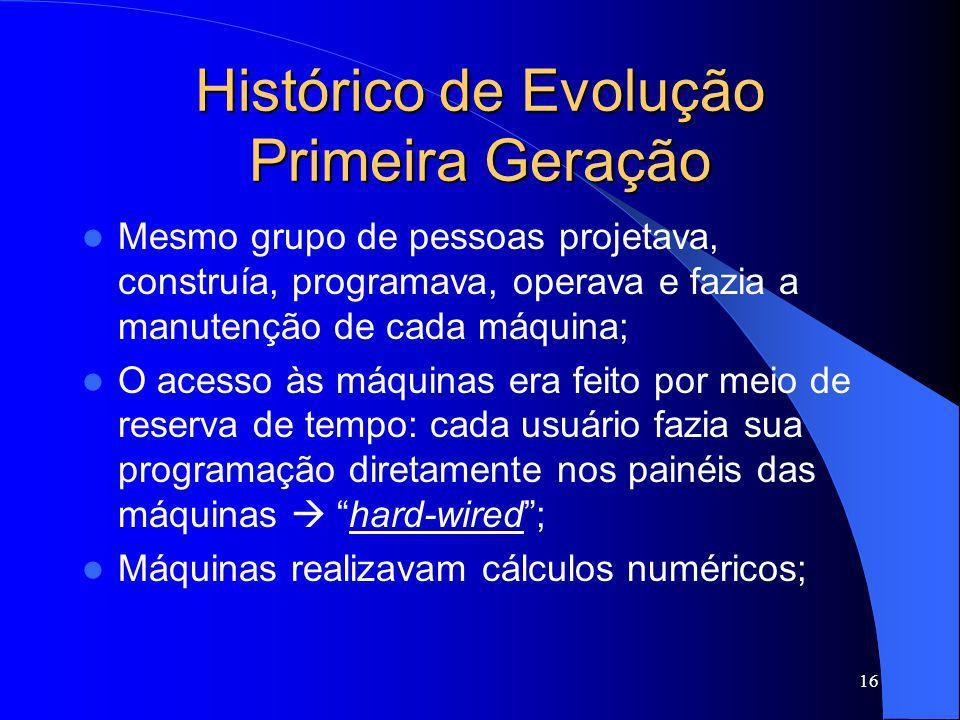 16 Histórico de Evolução Primeira Geração Mesmo grupo de pessoas projetava, construía, programava, operava e fazia a manutenção de cada máquina; O ace