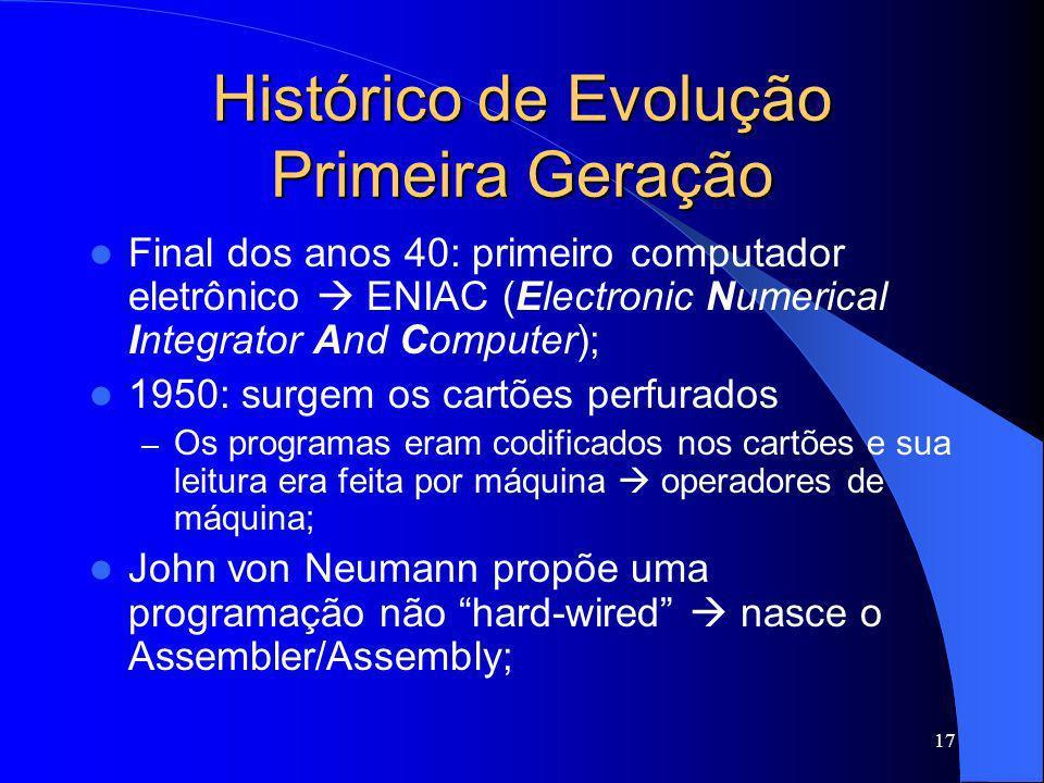 17 Histórico de Evolução Primeira Geração Final dos anos 40: primeiro computador eletrônico ENIAC (Electronic Numerical Integrator And Computer); 1950