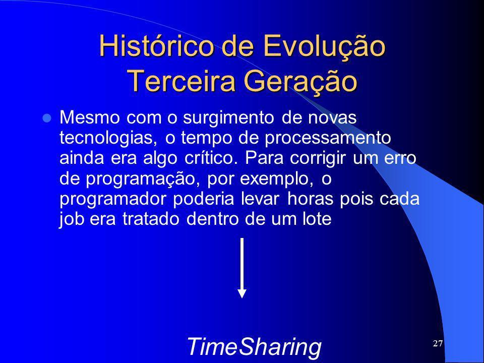 27 Histórico de Evolução Terceira Geração Mesmo com o surgimento de novas tecnologias, o tempo de processamento ainda era algo crítico. Para corrigir