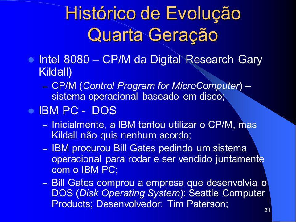 31 Histórico de Evolução Quarta Geração Intel 8080 – CP/M da Digital Research Gary Kildall) – CP/M (Control Program for MicroComputer) – sistema opera