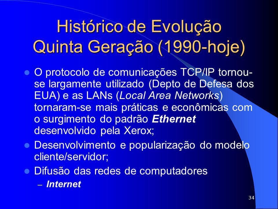 34 Histórico de Evolução Quinta Geração (1990-hoje) O protocolo de comunicações TCP/IP tornou- se largamente utilizado (Depto de Defesa dos EUA) e as