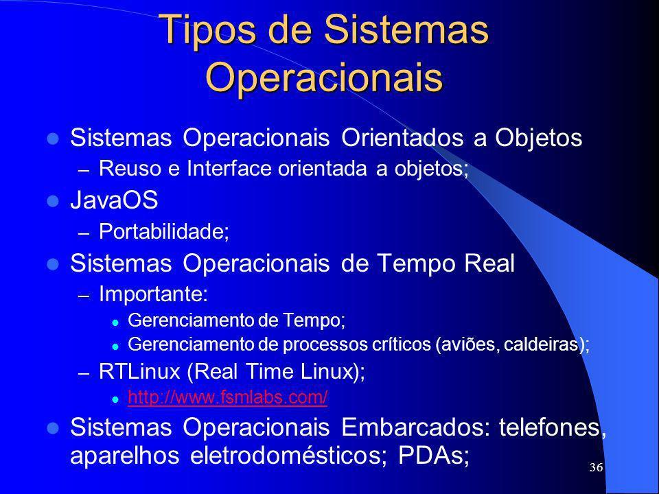 36 Tipos de Sistemas Operacionais Sistemas Operacionais Orientados a Objetos – Reuso e Interface orientada a objetos; JavaOS – Portabilidade; Sistemas