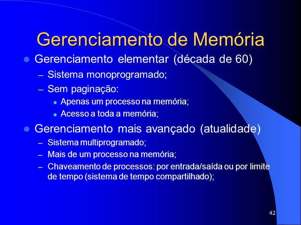 42 Gerenciamento de Memória Gerenciamento elementar (década de 60) – Sistema monoprogramado; – Sem paginação: Apenas um processo na memória; Acesso a