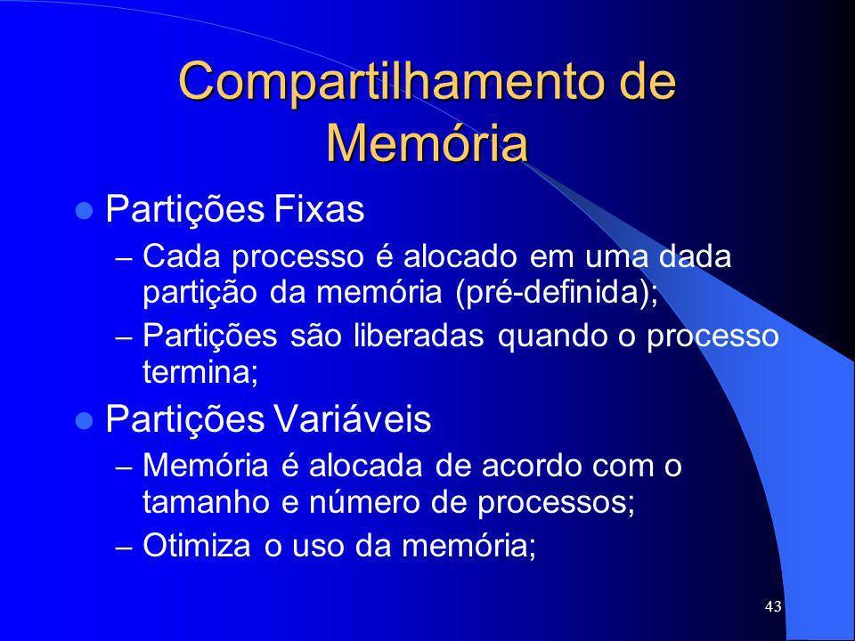43 Compartilhamento de Memória Partições Fixas – Cada processo é alocado em uma dada partição da memória (pré-definida); – Partições são liberadas qua