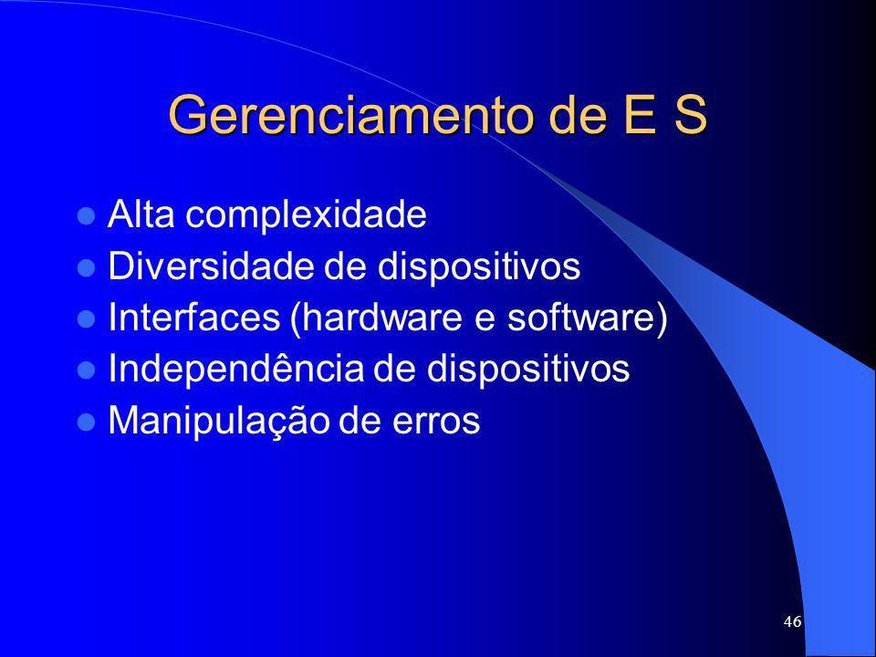 46 Gerenciamento de E S Alta complexidade Diversidade de dispositivos Interfaces (hardware e software) Independência de dispositivos Manipulação de er