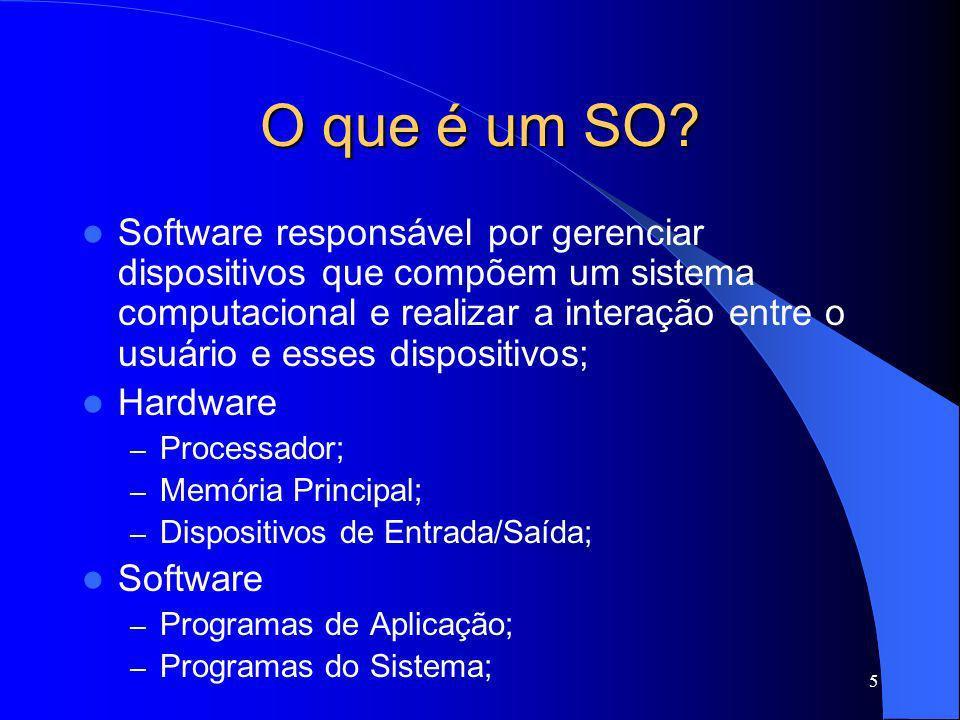 36 Tipos de Sistemas Operacionais Sistemas Operacionais Orientados a Objetos – Reuso e Interface orientada a objetos; JavaOS – Portabilidade; Sistemas Operacionais de Tempo Real – Importante: Gerenciamento de Tempo; Gerenciamento de processos críticos (aviões, caldeiras); – RTLinux (Real Time Linux); http://www.fsmlabs.com/ Sistemas Operacionais Embarcados: telefones, aparelhos eletrodomésticos; PDAs;