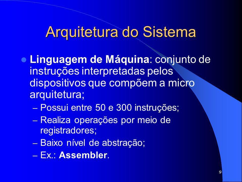 9 Arquitetura do Sistema Linguagem de Máquina: conjunto de instruções interpretadas pelos dispositivos que compõem a micro arquitetura; – Possui entre