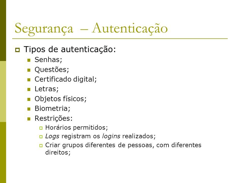 Segurança – Autenticação Tipos de autenticação: Senhas; Questões; Certificado digital; Letras; Objetos físicos; Biometria; Restrições: Horários permit