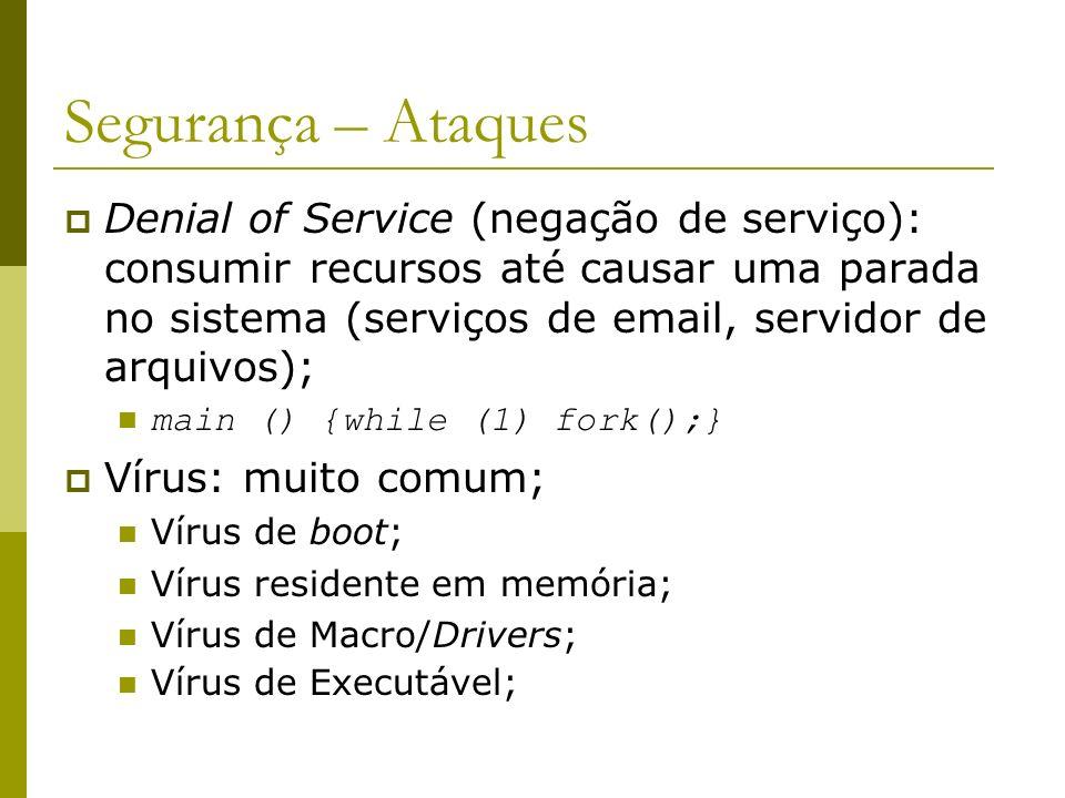 Segurança – Ataques Denial of Service (negação de serviço): consumir recursos até causar uma parada no sistema (serviços de email, servidor de arquivo