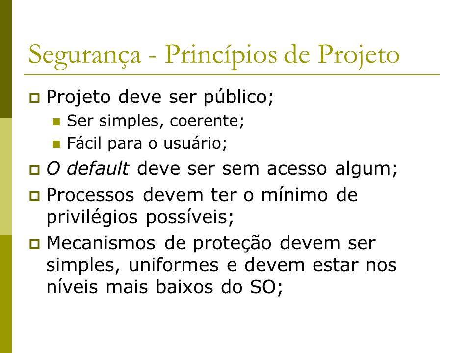 Segurança - Princípios de Projeto Projeto deve ser público; Ser simples, coerente; Fácil para o usuário; O default deve ser sem acesso algum; Processo