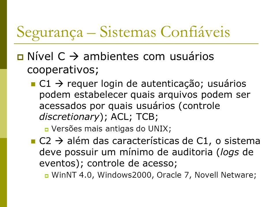 Segurança – Sistemas Confiáveis Nível C ambientes com usuários cooperativos; C1 requer login de autenticação; usuários podem estabelecer quais arquivo
