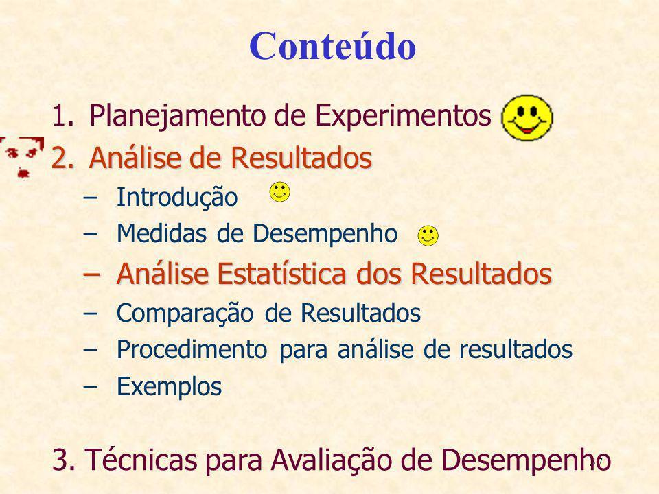 37 Conteúdo 1.Planejamento de Experimentos 2.Análise de Resultados –Introdução –Medidas de Desempenho –Análise Estatística dos Resultados –Comparação
