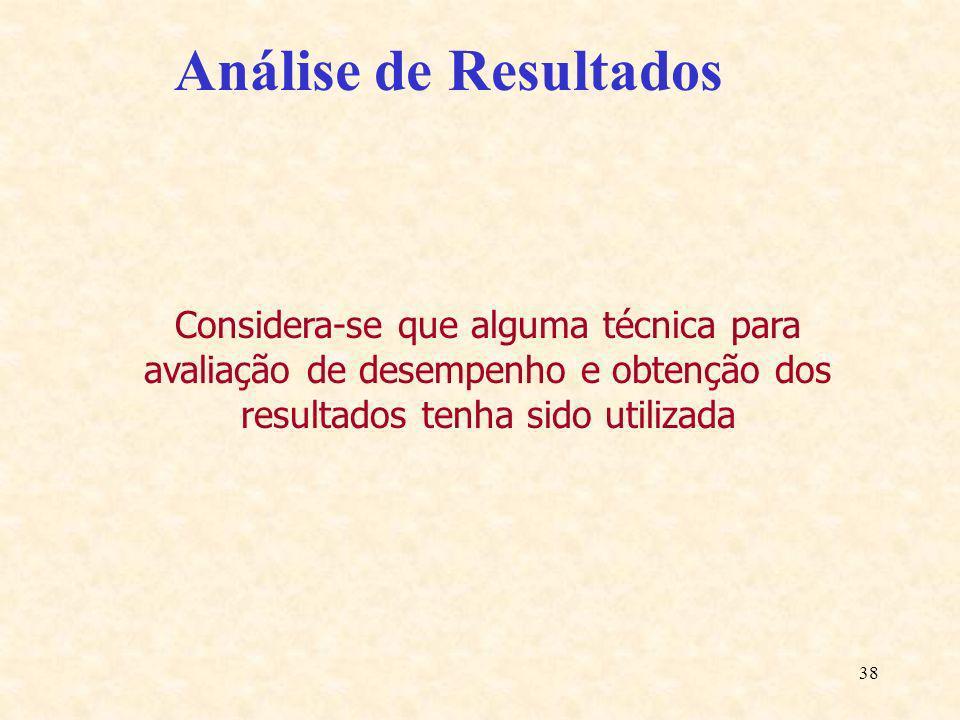 38 Análise de Resultados Considera-se que alguma técnica para avaliação de desempenho e obtenção dos resultados tenha sido utilizada