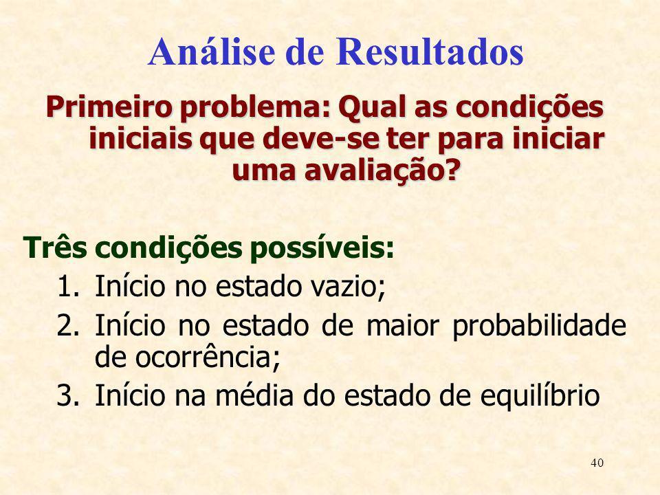 40 Análise de Resultados Primeiro problema: Qual as condições iniciais que deve-se ter para iniciar uma avaliação? Três condições possíveis: 1.Início