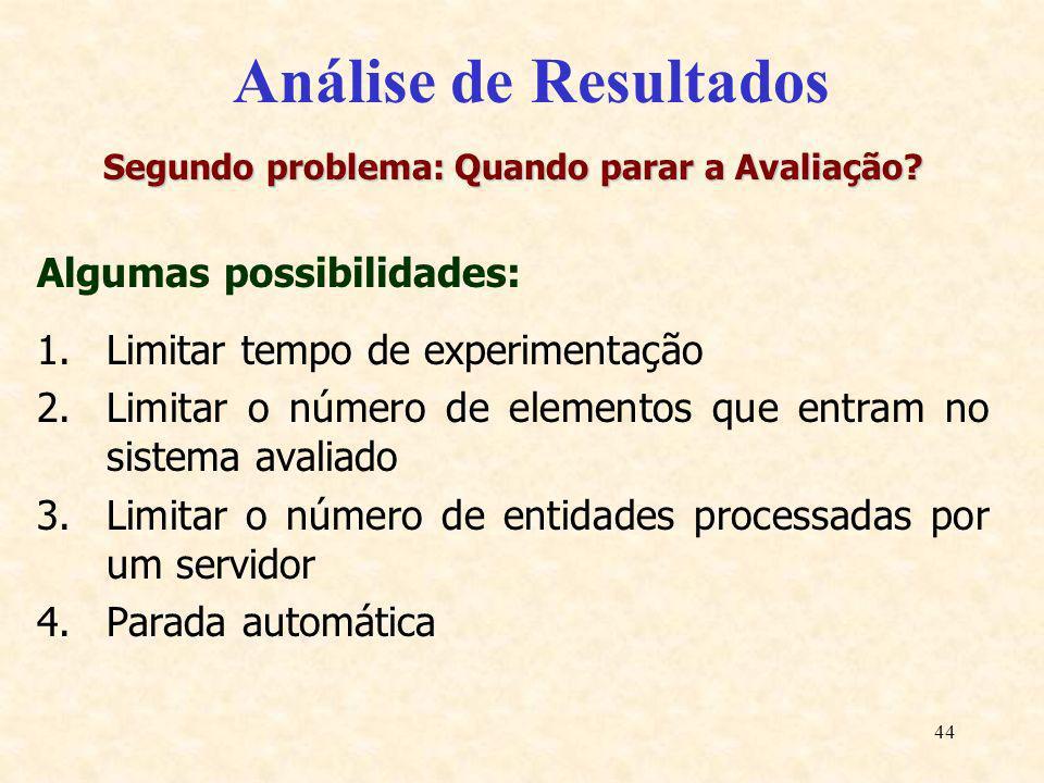 44 Análise de Resultados Segundo problema: Quando parar a Avaliação? Algumas possibilidades: 1.Limitar tempo de experimentação 2.Limitar o número de e