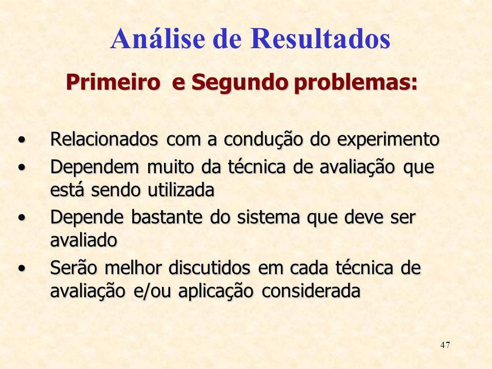 47 Análise de Resultados Primeiro e Segundo problemas: Relacionados com a condução do experimentoRelacionados com a condução do experimento Dependem m